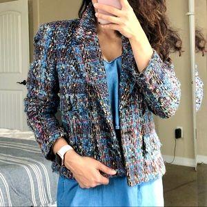 CARLISLE Vintage Mohair Wool Blue Tweed Blazer